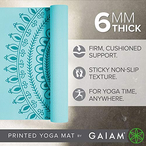 Gaiam Yoga Mat - Premium 6Mm Print Extra Thick Exercise & Fitness Mat For All Types Of Yoga, Pilates & Floor Exercises (68 X 24 X 6Mm Thick)