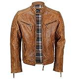 Cazadora de piel auténtica para hombre, encerada, estilo motero, aspecto retro, con cremallera Marrón canela XX-Large