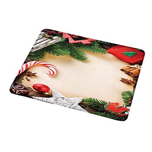 Design Gaming Mouse Pad Weihnachten, Auswahl an festlichen Ornamenten Zimtstange Stern Anis Zuckerstange Spielzeug Schlitten, mehrfarbig für Computer
