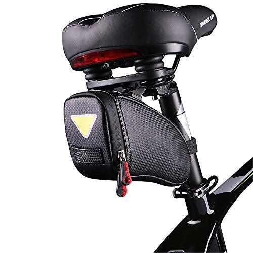 Liuxiaomiao-Sports Fietszadeltas Fiets En Mountainbike Riding PU Zadeltas, Waterdichte Fietstas Achterbank Fietsreparatie Tool Trendy Design Pocket Packaging Fietsstoel opbergtas