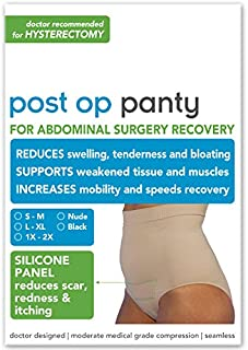 Post Op Panty Compression Plus Silicone Scar Care Hysterectomy Recovery Panty L/XL Black