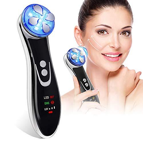Facial Aparato Radiofrecuencia, Aparato Facial Ultrasonido, 5 Modos de Terapia de luz LED, Antiarrugas, Anti-envejecimiento, Rejuvenecimiento, Limpieza Profunda, Cuidado Facial, Buen Regalo para Damas