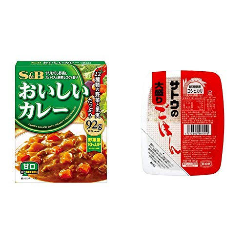 【セット販売】S&B なっとくのおいしいカレー 甘口 180g×6個 + サトウのごはん 新潟県産コシヒカリ大盛 300g×6個