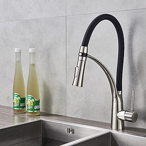 Home Kitchen Accessories Chrome-Plated Kitchen Sink Faucet Pull Down Rotating Sink Hot and Cold Water Faucet Kitchen Only Faucet Mixing Faucet Countertop Kitchen Faucet-led_Chrome_b_cn Kitchen Tap