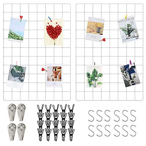 Wandgitter Weiß(45x65cm) 2 Pack,Wanddekor, Aesthetic Deko, Multifunktionale Gitterwand, DIY Eisen Gitter der Fotowand Dekoration .Deko zum Anbringen von Fotos, Postkarten, Notizen usw