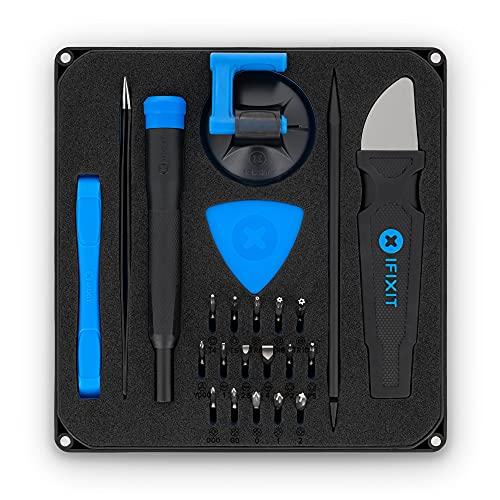 iFixit Essential Electronics Toolkit, Juego de herramientas con 16 puntas de precisión (4 mm) y mango destornillador para reparar moviles, consolas