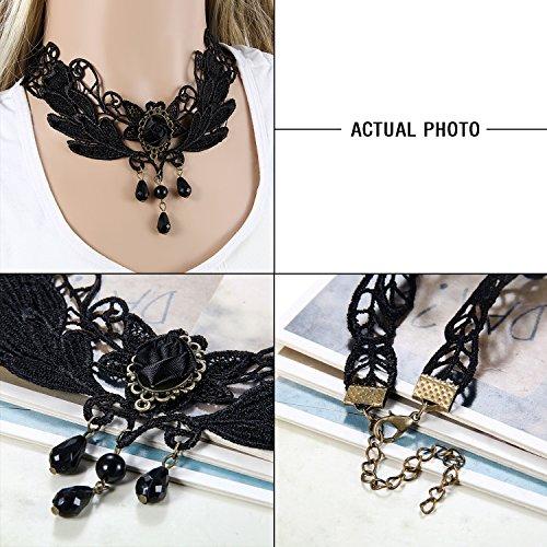 Flongo Women Girl 3PCS Black Retro Gothic Lace Choker Necklace Collar Neckband, 13 inch steampunk buy now online