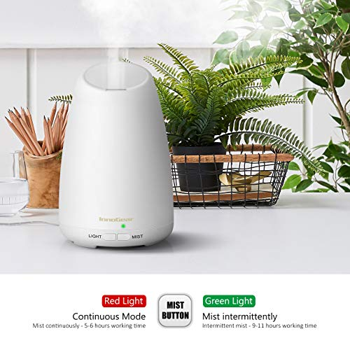 InnoGear 150ml Essential Oil Diffuser Ultrasonic Aroma Aromatherapy Diffusers with 7 Changeable Colored LED Lights, Adjustable Mist Mode and Waterless Automatically Shut-off