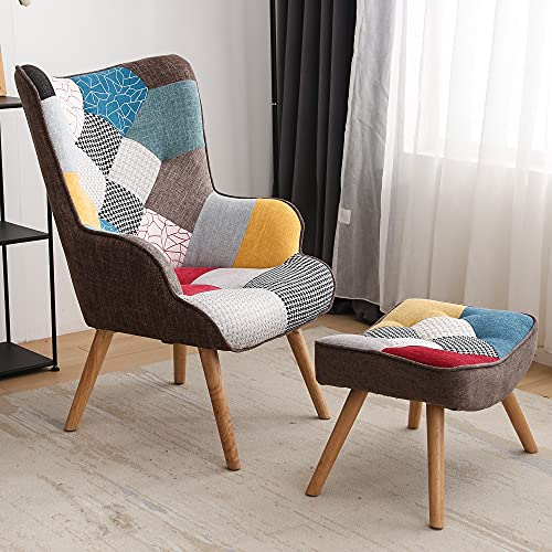 Chair and Ottoman, Accent Chairs for Bedroom, Modern Colourful and Patchwork Reading Chair with Solid Wood Legs, Linen Fabric Napping Armchair for Living Room