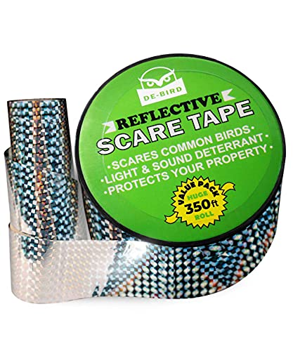 De-Bird: Scare Tape - Reflective Tape Outdoor to Keep Away Woodpecker, Pigeon, Grackles, and More. Stops Damage, Roosting, and Mess (350ft Roll)