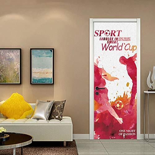 JYXJJKK Door Stickers Bedroom Living Room Creative Football World Cup 90x210 cm Vinyl Boys Art Bedrooms Poster Room wall art Home Decor PVC Self Adhesive Diy door Poster Mural Waterproof Office Deca