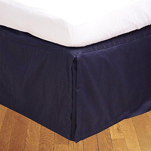 Dreamz Parure de lit Super Doux Coton égyptien 250 Fils Finition élégante 1PC en pli Creux Jupe de lit (Drop Longueur : 76,2 cm) Lit Simple, Bleu Marine Solide