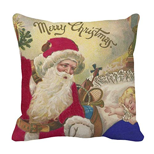perfecone Home Improvement Cotton Pillowcase Double Cute Litter Girl and Santa Claus Merry Christmas Sofa and car Pillow case 1 Pack 31.5 x 31.5 inches/80 cm x 80 cm