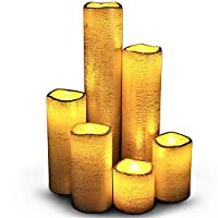 (Rustic Gold With Amber Yellow Flame) - LED Lytes TIMER FLAMELESS CANDLES, SLIM Set of 6, 5.1cm WIDE and 5.1cm - 23cm TALL, Rustic Gold Coated Wax and Flickering Amber Yellow Flame for Weddings and Parties and gifts