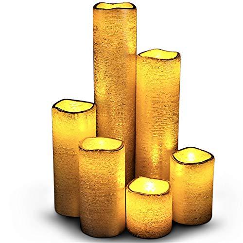LED Lytes Schmale, flammenlose Kerzen Rustikales Gold mit gelber Flamme