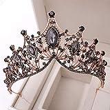 Cascos Tiara Nupcial Tocado Corona Barroco Retro del Rhinestone de la Manera para los Regalos de cumpleaños de Cosplay Partido de Las Mujeres Atrezzo decoración,Negro