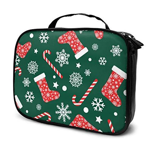 Sacs à cosmétiques pour les femmes voyagent, modèle vectorielle continue avec des chaussettes de Noël bas rouge et blanc étui à crayons