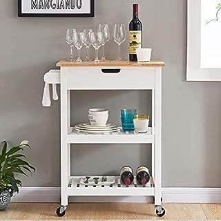 Coniffer Rolling Kitchen Cart Microwave Storage Island...