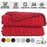 Shaddock Manta de punto de 100% algodón, manta de punto para dormir para niños, adultos, recámara, sofá, coche, colcha, sala de estar, oficina, Rojo, Twist Pattern