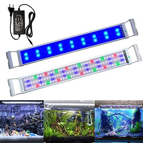Aufun Aquarium LED Beleuchtung 18W Aquariumbeleuchtung 2 Lichtmodi 135 LEDs Aquariumlampe mit Verstellbarer Halterung aus Alu und Edelstahl für 75-95cm Aquarium, RGB Licht Weiß Blau Rot Grün