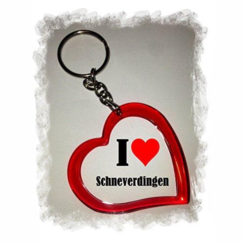 Druckerlebnis24 Herz Schlüsselanhänger I Love Schneverdingen - Exclusiver Geschenktipp zu Weihnachten Jahrestag Geburtstag Lieblingsmensch