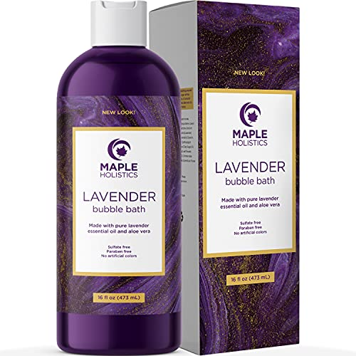 Bubble Bath for Women, Men and Teens - Lavender Hybrid, Gentle, and Safe for Sensitive Skin - With Vitamin E and Aloe Vera, 16 oz.