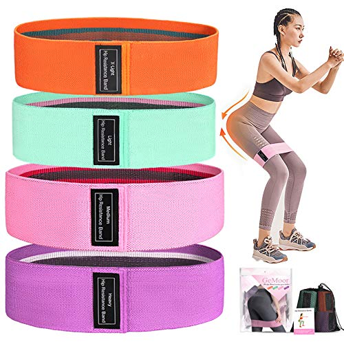 GeMoor Resistance Bands for Leg and Butt, 4 Set Upgrade Anti-Slip Booty Bands,Fabric Stretch Workout Bands Sports Fitness Hip Resistance Bands for Squat Glute Hip Training