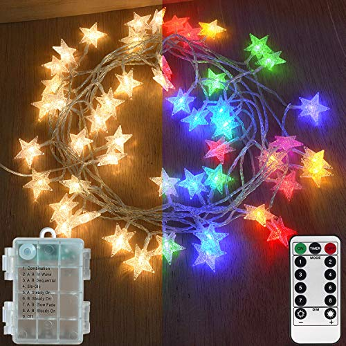【3-in-1 Function】Abkshine 50 LED Star Fairy Lights, Battery Powered Christmas Lights, Warm White + Multicoloured String Lights for Indoor Outdoor Wedding Bedroom Patio Umbrella Decorations