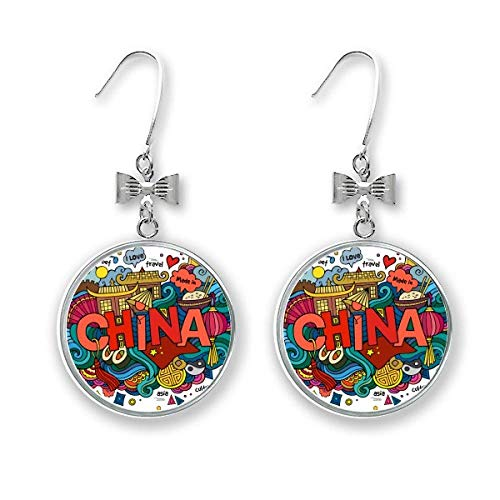 Made In China Asia Chinese Travel Art Bow Earrings Drop Stud Pierced Hook