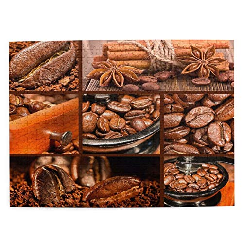 Yuniker Antique-Grinder-Coffee-Beans Wooden Jigsaw Puzzles Modern Wall Art Picture 500 Pieces Jigsaws Creative Modern Wooden Jigsaw Puzzle Best Gift For Adults And 12 Years Age Up Kids