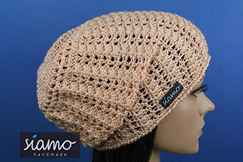 Sommer-Beanie SAVONA apricot Sommer-Mütze von siamo-handmade