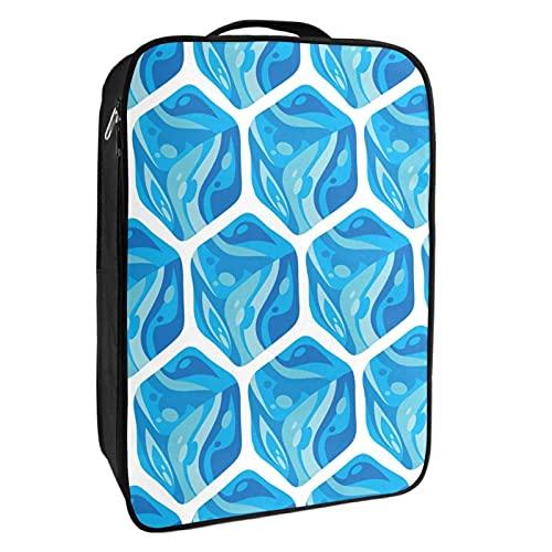 Caja de almacenamiento para zapatos de viaje y uso diario congelado cubos de hielo azul arte bolsa organizador portátil impermeable hasta 12 yardas con doble cremallera 4 bolsillos