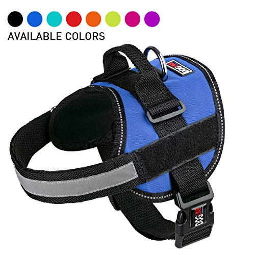 Dog Harness, Reflective No-Pull Adjustable Vest with Handle for Walking, Training, Service Breathable No - Choke Harness for Small, Medium or Large Dogs Room for Patches Girth 36 to 46 in Cyan Blue