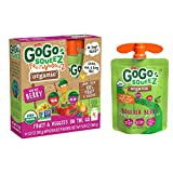 GoGo squeeZ Organic fruit & veggieZ, Apple Mixed Berry Carrot, 3.2 Ounce (4 Pouches), Gluten Free, Vegan Friendly, Unsweetened, Recloseable, BPA Free Pouches