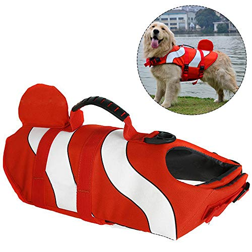 BIZAR Dog Life Jacket with Rescue Handle, Adjustable Ripstop Dog Life Vests with Reflective Strips for Pet Safety Swimming