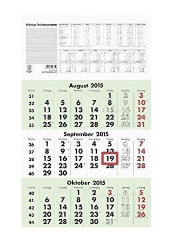 Zettler 956-0700 Wand-,Wandkalender Auslagen-Display und Bastelkalender 3-Monats-Planer UWS 3M 1S