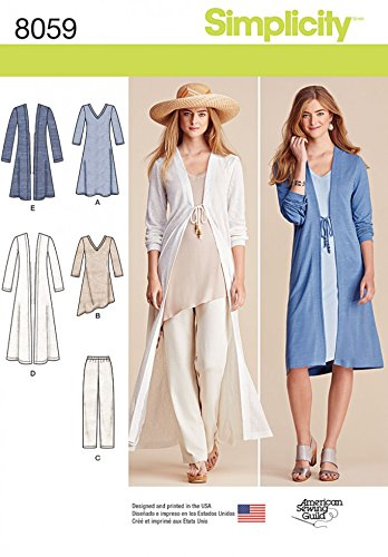 Simplicity Ladies Sewing Pattern 8059 Tunic Tops, Long Cardigans & Pants