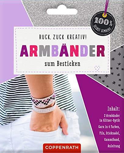 Ruck, zuck kreativ! Armbänder zum Besticken: Armbänder in Glitzer-Optik - silber (100% selbst gemacht)