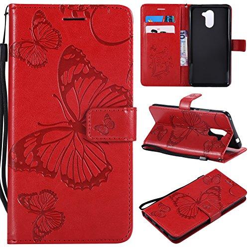 Jeewi Hülle für Huawei Y7/Y7 Prime 2017 Hülle Handyhülle [Standfunktion] [Kartenfach] [Magnetverschluss] Tasche Etui Schutzhülle lederhülle flip case für Huawei Y7 - JEKT041276 Rot