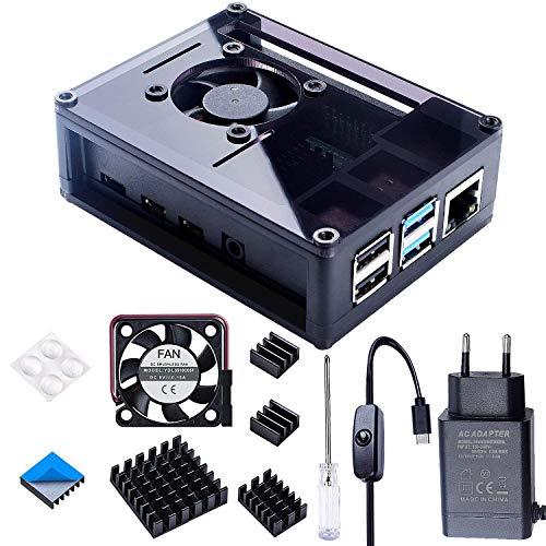 Bruphny Caja para Raspberry Pi 4 con 35mm Ventilador, Cargador de 5V / 3A USB-C, 4 X Disipador, Compatible con Raspberry Pi 4 Modelo B (Gran Ventilador y Disipadores)-Negro