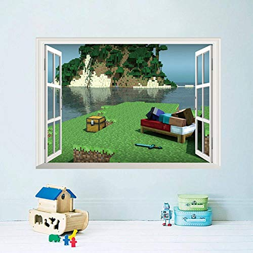 BMBM Minecraft Cartoon Game 3D Wandaufkleber Für Kinderzimmer Wandbild Poster Wohnkultur Wandtattoo Poster Platz Welt
