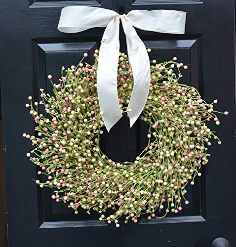 Elegant Holidays Handmade Cream, Pink, Green Berry Wreath with Bow, Front Door Welcome Guests Outdoor Indoor Home Wall Accent Décor Great Spring, Easter, St. Patricks Day, All Seasons, 18-24 inches