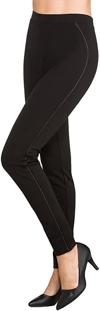 Hue Women's Ponte Leggings with Leatherette Piping