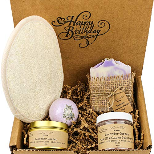 Happy Birthday Gift Box for Women - Handmade Lavender Spa Gift Set - Natural Relaxing Destress Spa Package - Birthday Gift Ideas for Women 5 pc - Artisan Soap Soy Candle Himalayan Salt Scrub Bath Bomb