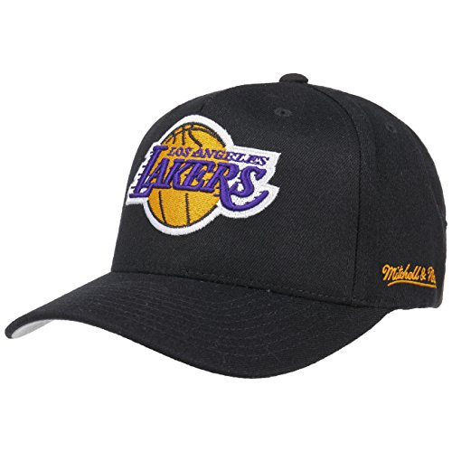 Mitchell & Ness Herren Snapback Caps NBA LA Lakers 110 Curved Eazy schwarz Verstellbar