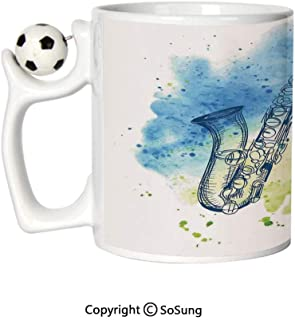Jazz Music Decor Sports Football Mug,Watercolor Sketch Style Image of Saxophone Decorative Illustration Retro Decor Ceramic Coffee Cup,Blue Green White,Great Novelty Gift for Kids & Audlt