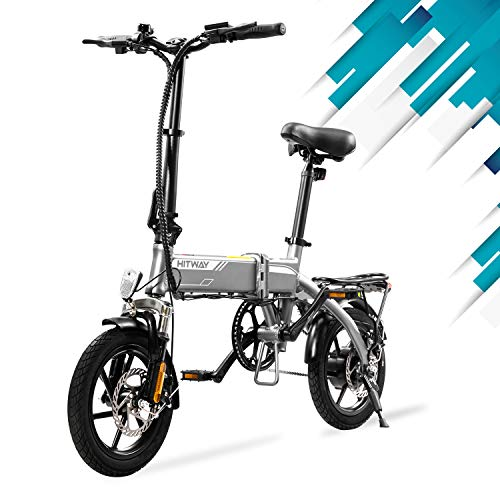 HITWAY Bicicleta eléctrica Plegable, Bicicleta eléctrica de 14'para Adultos, con Motor de 250 W, 3 Modos de Trabajo, batería extraíble de 7,5 Ah, autonomía de hasta 45 km Bicicleta eléctrica