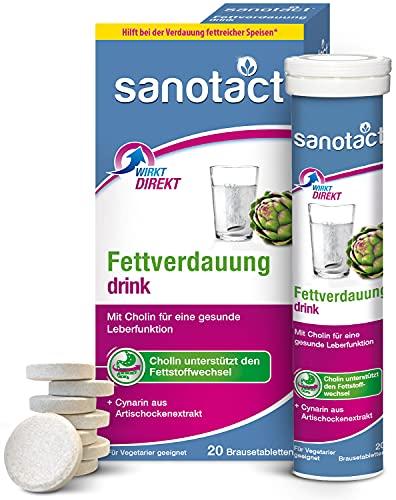 sanotact Fettverdauung Drink • 20 vegane Brausetabletten mit Cholin + Artischocken-Fruchtextrakt • Brausetabletten für eine schnelle Verdauung • Unterstützen den...