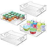 mDesign 4er-Set Kinderzimmer Organizer – große Sortierbox mit praktischen Griffen, ohne Deckel – BPA-freier Kunststoffbehälter mit 2 Fächern für Spielzeug, Windeln, Stofftiere & Co....