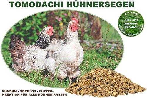Hühnerfutter, Naturprodukt, hochwertiges Vollwertfutter für Geflügel, calziumreiche Komplettnahrung für alle Hühnerrassen, reich an Omega-3 Fettsäuren, natürlicher Immunschutz, Qualitäts Körnermischung für gesunde, glückliche Hühner, Tomodachi Hühnersegen 1kg Eimer - 3